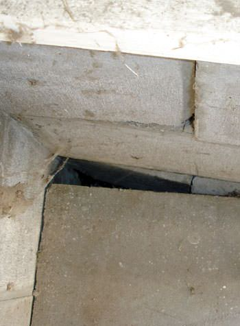 inward rotation of a foundation wall damaged by street creep in a garage in Wilmington