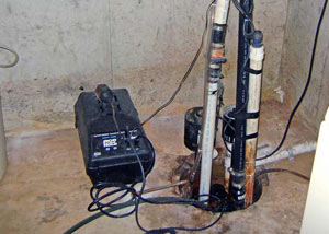 Pedestal sump pump system installed in a home in Miamisburg