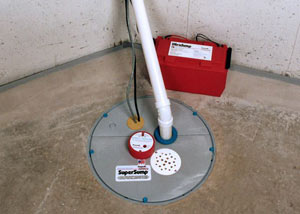 A sump pump system with a battery backup system installed in Greenville