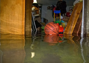 A flooded basement bedroom in Wilmington
