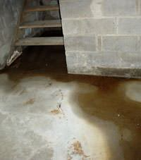 Flooding floor cracks by a hatchway door in Eaton
